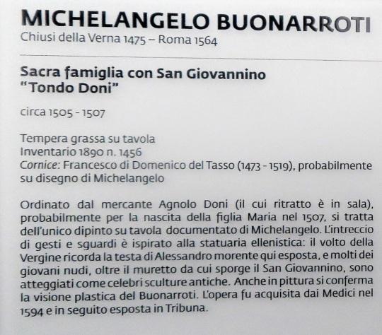 Michelangelo Buonarroti Sacra Famiglia con San Giovannino alias Tondo Doni a soloalsecondogrado