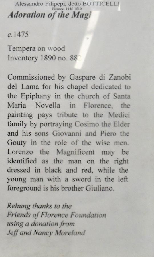 Botticelli alias Alessandro Filipepi Adorazione dei Magi con la Famiglia de Medici c Uffizi soloalsecondogrado