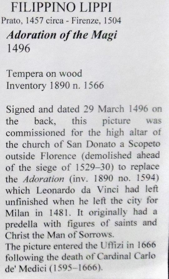 Filippino Lippi Adorazione dei Magi Uffizi r soloalsecondogrado